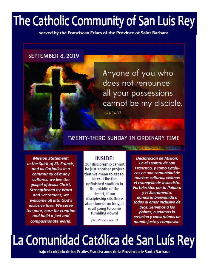 Bulletin for 9-8-2019