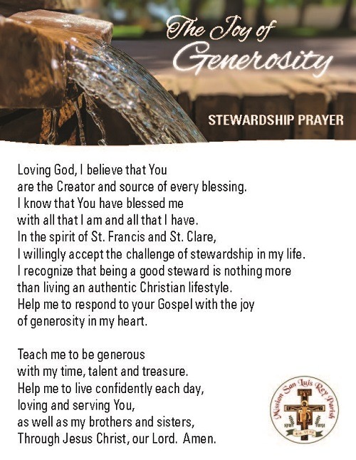 Please bring the needs of our parish community and ministries into your thoughts and prayers this October with this Stewardship Prayer.