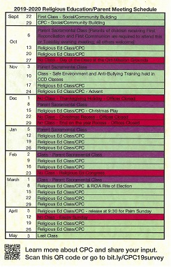 2019-2020 Religious Education/Parent Meeting Schedule