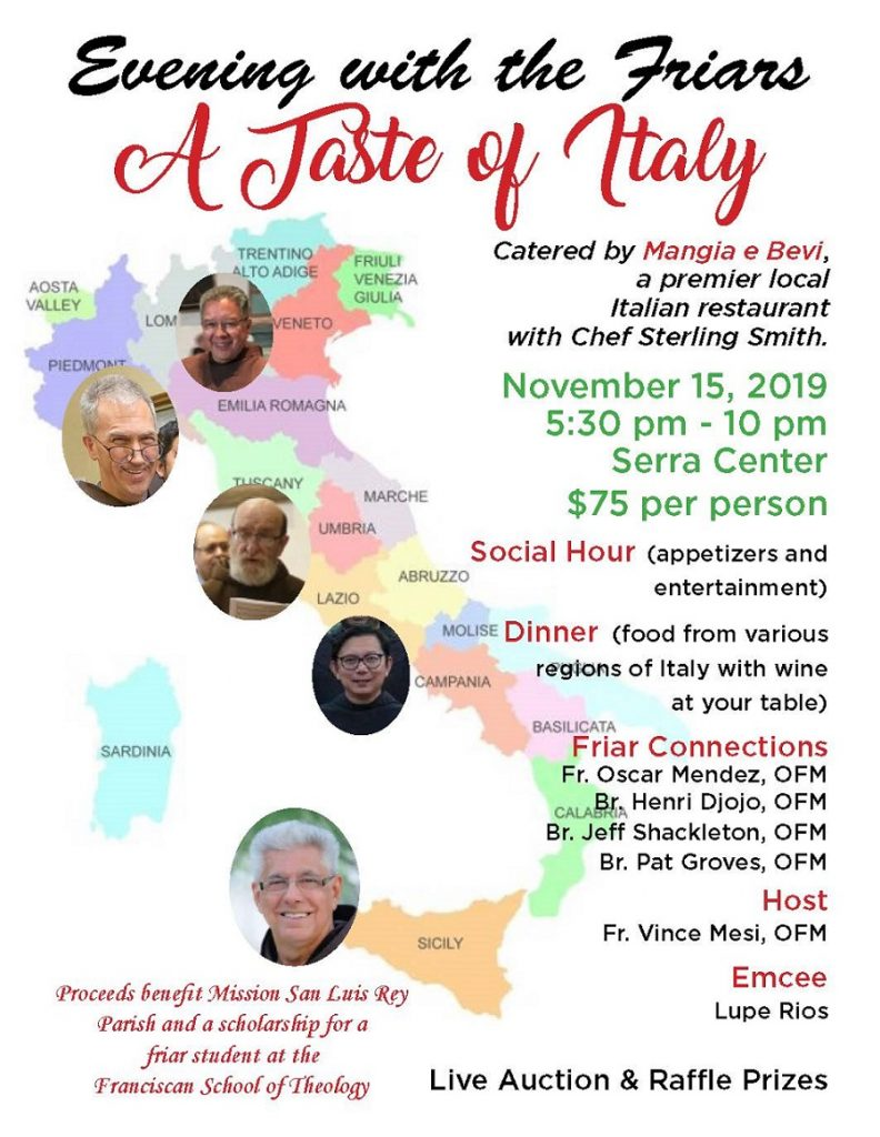 Evening with the Friars: a Taste of Italy