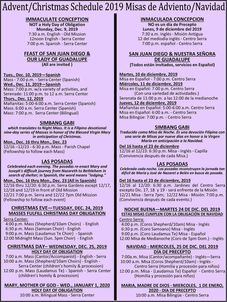 Mission San Diego Christmas Mass Schedule 2020 Advent and Holiday Schedule   Mission San Luis Rey Parish