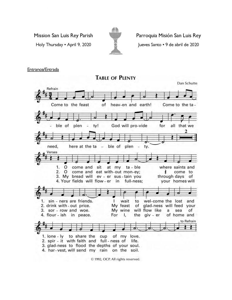 Click for downloadable PDF worship aid for our bilingual Mass.