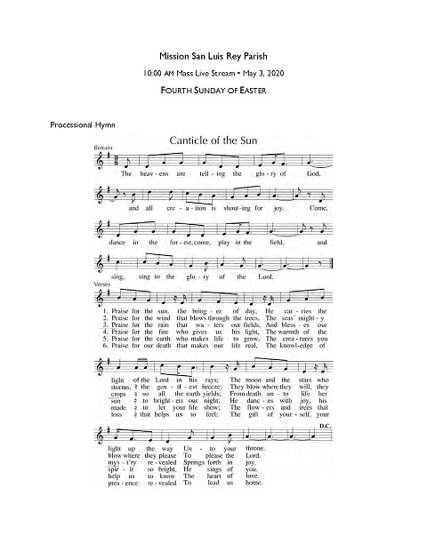 Music for 10 am (English) Mass, Sunday, May 3, 2020
