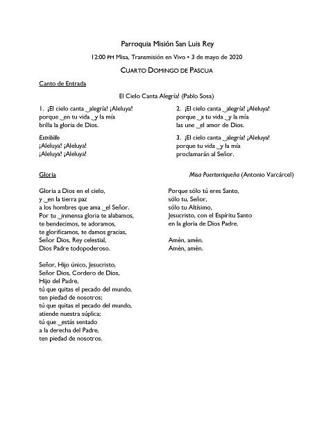 Música para las 12 del mediodía Misa en español