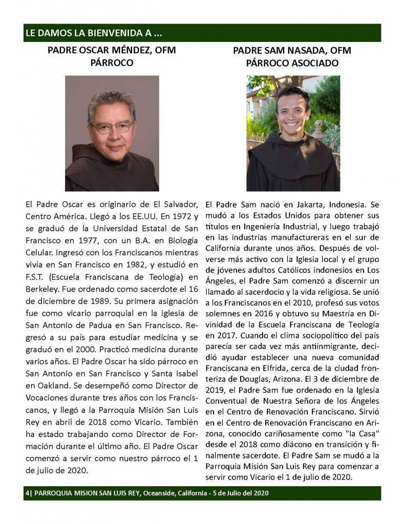 Le damos la bienvenida a....Padre Oscar Mendez, OFM y Padre Sam Nasada, OFM.
