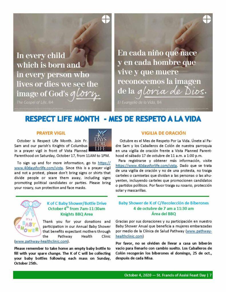 Respect life Month: Mes de Respeto a la Vida