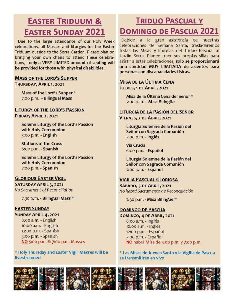 Holy Week 2021 Schedule of Liturgies