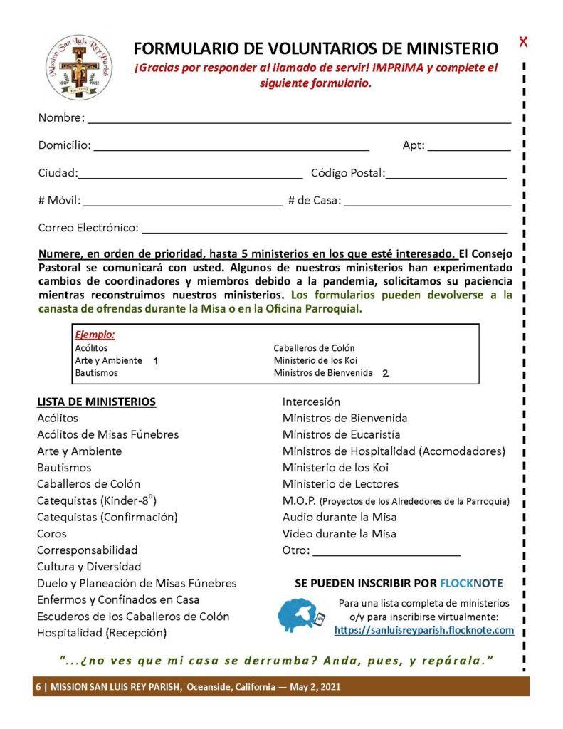 Formulario de voluntariado