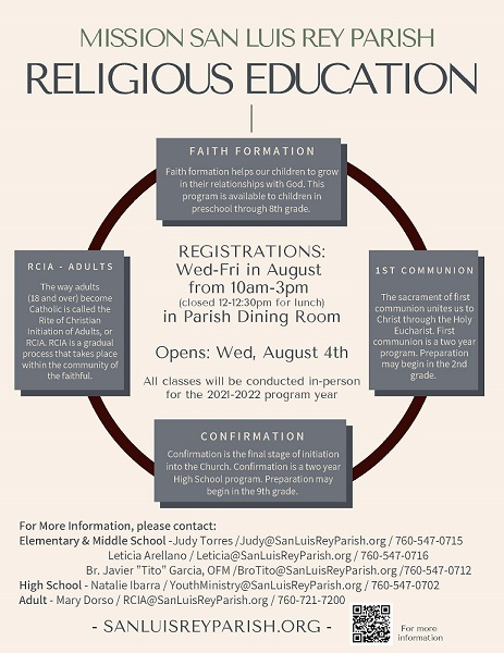 Religious Education: click for PDF of flyer.
